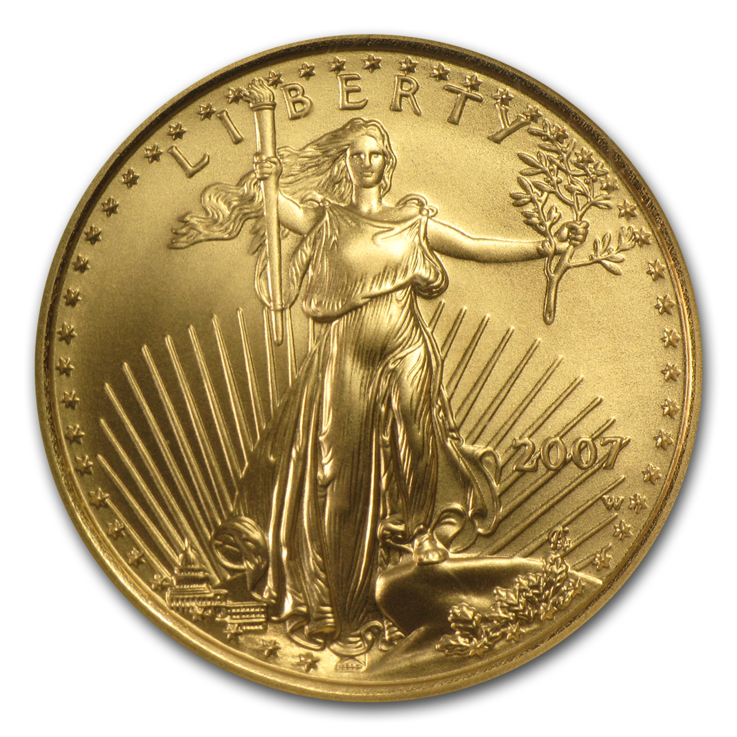 2007-W 1/4 oz Burnished Gold American Eagle MS-70 NGC (ER)